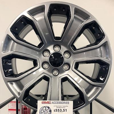 22″ Denali Style 7-Spoke Rim with Black Inserts